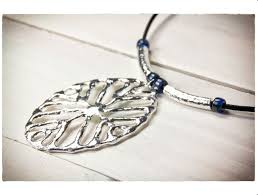 handmade etnias large silver plated pendant black cord necklace
