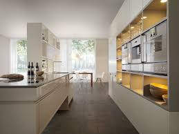 Kitchen With Modern Design Equipped With Soft White Gallery Then Added  White Cabinets With Shelves Left Corner Of The Kitchen Table And Oven  Shelves With ...
