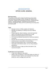 Office Clerk General Job Description Template Word Pdf By