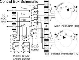 x10 thermostat control automation tips tricks and helpful looking at the schematic relay ry1 is used to switch between the two thermostats ry2 is used to provide a closure across the fan switch in the thermostat