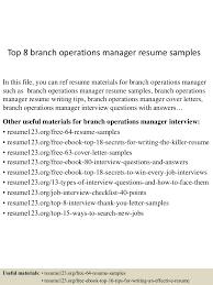 Top8branchoperationsmanagerresumesamples 150521075611 Lva1 App6891 Thumbnail 4 Jpg Cb 1432195019