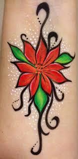 Poinsettia Arm Design Face Paint Dixie Pixie Christmas