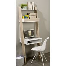 SoBuy Ladder Shelf Wall Shelf Storage Display Shelving Unit with Drawer &  Desk Workstation