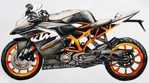 how to draw a motorcycle ktm rc 200 sports bike step by step easy
