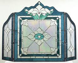 amazing leaded glass fireplace screens with stained 6 fire screen victorian gla