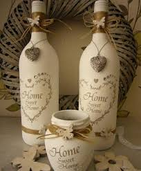 Wine Bottle Decorations Handmade Handmade Shabby Chic Wine Bottles Painted And Decorated Ideal 40