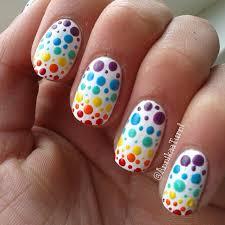 Colorful polka dots nail art ! - YouTube