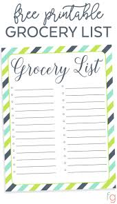 Template For Shopping List Organizing Grocery List Free Printable