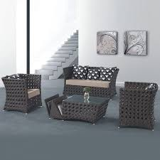 4 piece pe rattan sofa set 1 loveseat 2 lounge chair