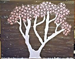 details about original 24x30 abstract texture acrylic painting tree of life cherry blossom