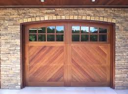 stylish wooden garage doors panels with glass windows