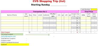 Shopping Spreadsheet Cvs Shopping List Cvs Spreadsheet Shopping List Best