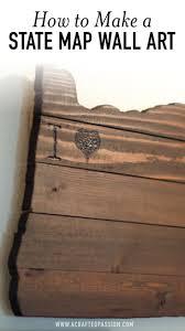 wooden wall art shaped like a state image