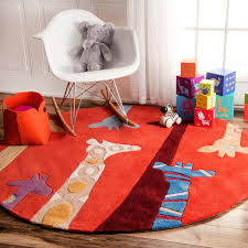 nuloom handmade bright giraffes kids nursery red rug