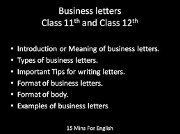 Business Letters Class 11 And 12 In Hindi - Youtube