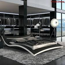 black modern platform bed. Lighted Headboard Bedroom Set Queen Modern Platform Bed Black Leather Chaise Urban Furniture Beds And