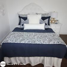 navy white paisley custom designer apartment bedding collection