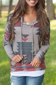 <b>Casual Geometric Pattern Long</b> Sleeves Hoodie For Women (With ...