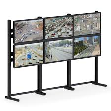 six flat screen monitor floor stand