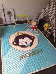 cartoon cat puzzle mat quilted cotton environmental big size rug soft ground mat for