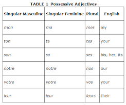 Possessive Pronouns In French Chart Possessive Adjectives