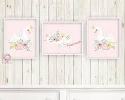 3 boho swan baby girl nursery wall art print ethereal pink gold crown whimsical bohemian floral on baby girl nursery wall art with 3 boho swan baby girl nursery wall art print ethereal pink gold