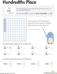 Decimals: Hundredths Place   Worksheet   Education.comThird Grade Decimals Worksheets: Decimals: Hundredths Place