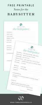 Babysitter Notes Free Printable Free Printable Babysitting And Free