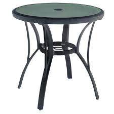 hampton bay commercial grade aluminum brown round outdoor bistro table