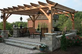Pergola Roof Ideas Most Recommended Design Brown Stained Finish Wooden  Posts Crossbeams Rafters Support Gussets Outdoor Patio Decoration