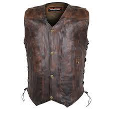 vance leathers men s classic lightweight vintage brown leather vest