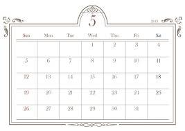 2019年カレンダー エレガント 5月 無料イラスト素材素材ラボ