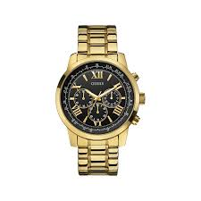 guess horizon men s chronograph black dial gold tone bracelet watch image