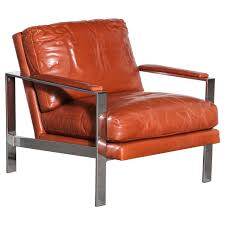 milo baughman leather and chrome chair for