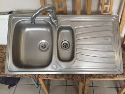 kitchen sink double drainer taps included stainless steel carron phoenix lots very good condition