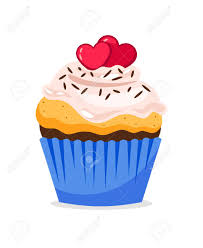 Cupcake Illustration With Hearts Decoration And Confetti On
