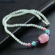 whole g stone beads necklace with natural pink crystal barrel bead pendant clavicular chain necklace fashion