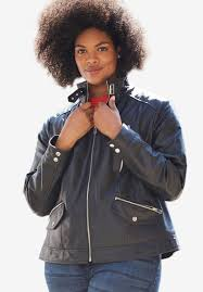 zip front leather jacket by ellos