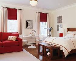 Bedroom. Beige Wall Theme And Beige Curtains Also Red Window Blind  Connected By Double Dark