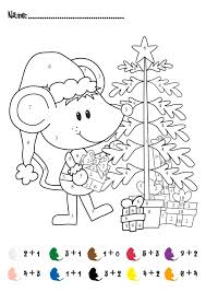 1st Grade Math Christmas Coloring Worksheets - Color of Love ...