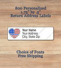 Printed Return Address Label 800 Personalized Self Adhesive Printed Return Address Labels