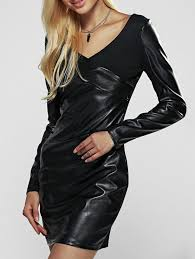 chic long sleeve faux leather sheath dress