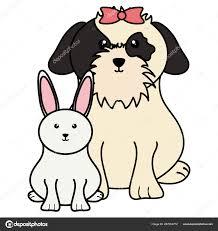 Dog Vector Design Cute Little Rabbit Dog Vector Illustration Design Stock