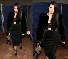 jacket fur fur coat kim kardashian pencil skirt crop tops skirt top wheretoget