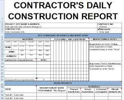 Contractors Daily Report Template Excel Civil Engineering