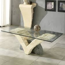 fossil stone coffee table with glass top gardenia