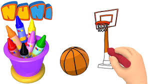 Basketball Drawing Pictures Nuni Art Basketball Drawing For Kids Coloring Videos Youtube