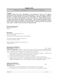 Photographer Resume Resume Templates