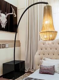 modern designer lighting. Signature Collection: Luxury Grand Scale Chainmail Chandelier Floor Lamp * Swarovski Crystal Elements Steel Arm Black Lacquer Finish 360 Degree Modern Designer Lighting