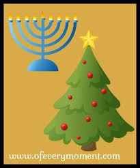 A Christmas Tree and a Menorah.